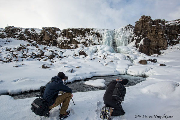Photographing Icy waterfalls in Iceland