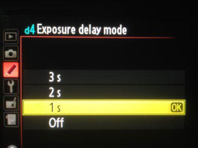 Nikon D800 Exposure delay mode