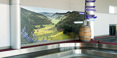 Baggage claim mural and Santa Maria Airport, California