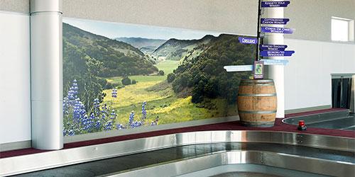 Baggage claim mural and Santa Maria Airport, California