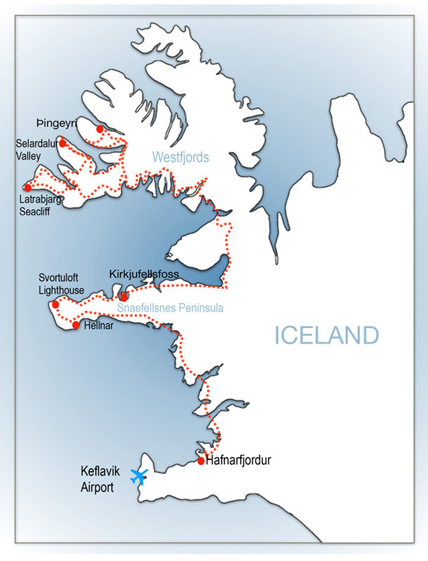 Itinerary map for Iceland Westfjords Photography Workshop