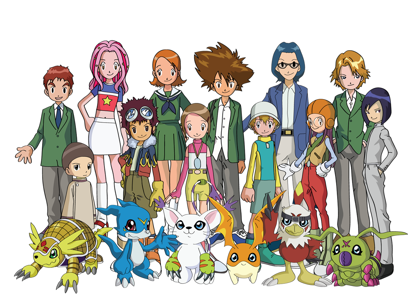 The cast of the anime series Digimon Adventure 02