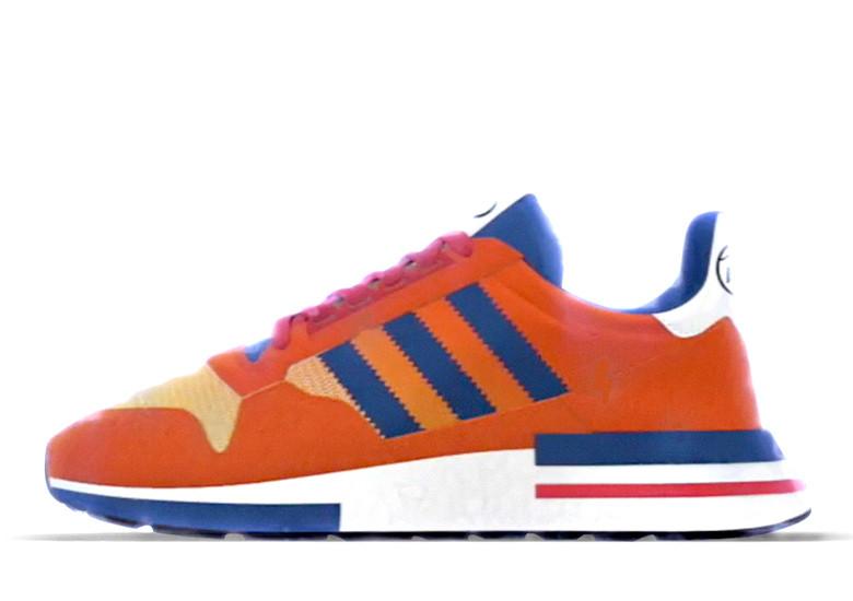 Image of the Son Goku orange and blue Adidas shoes