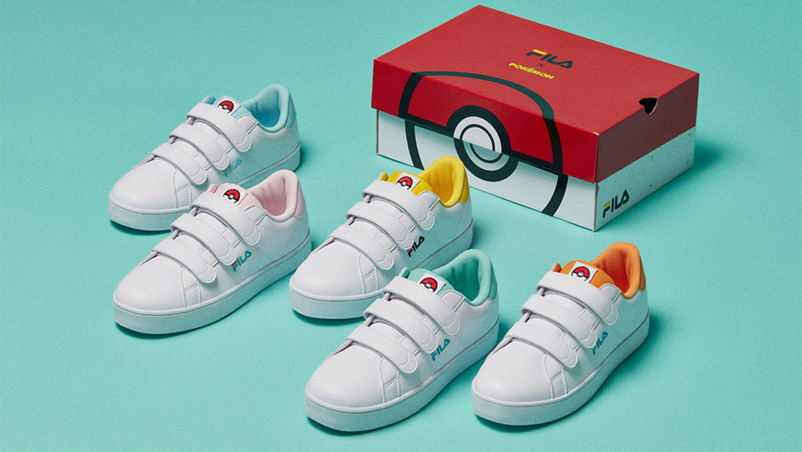Isometric image of the Pokemon and FILA collaboration shoes