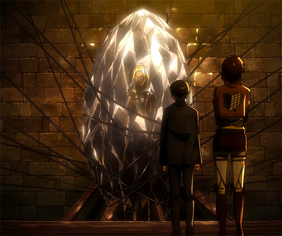 Annie from Attack on Titan encased in crystal during the season finale
