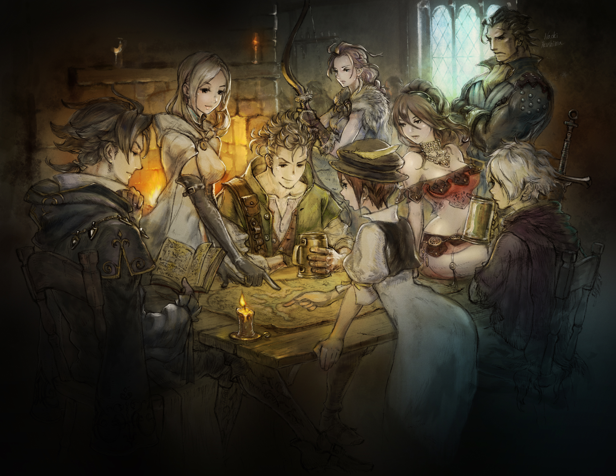 Image Octopath Traveler characters looking at a map in preparation of their next move