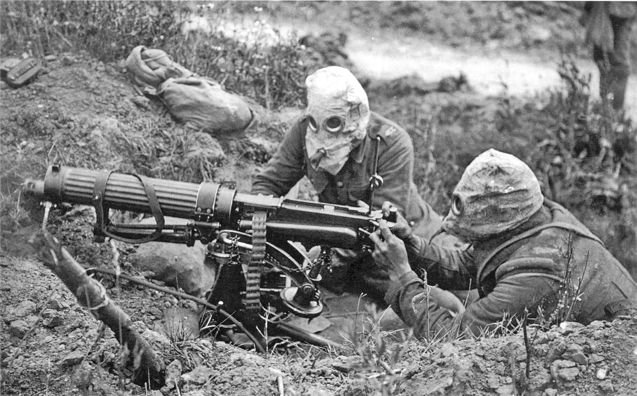 British machine gunners WW1