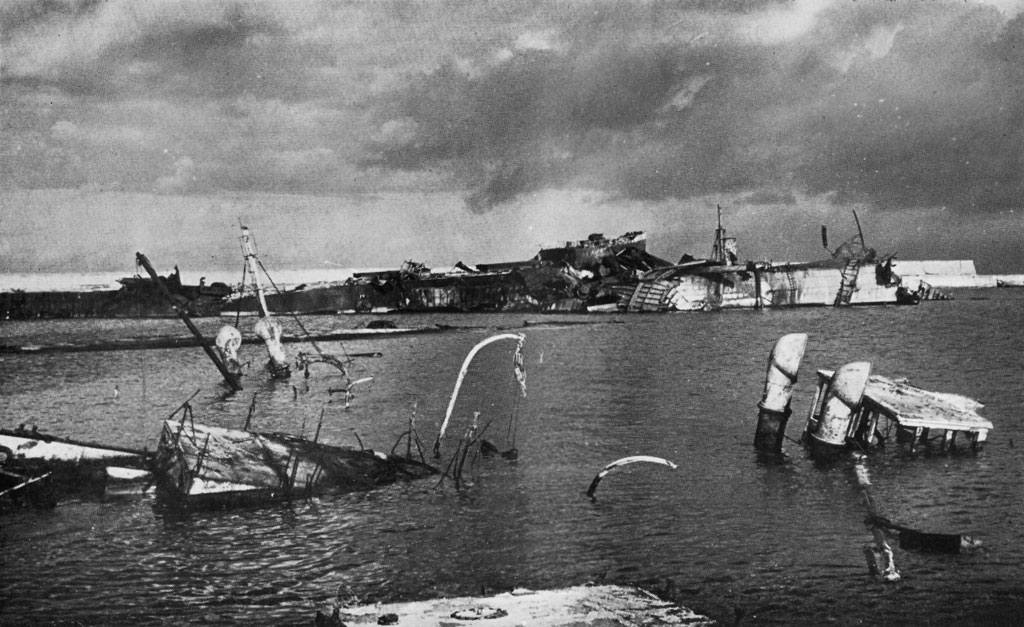 Benghazi Harbor, November 1942, after RAF raid.