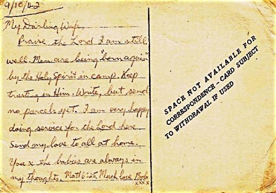 Postcard written by POW from Benghazi, 1942