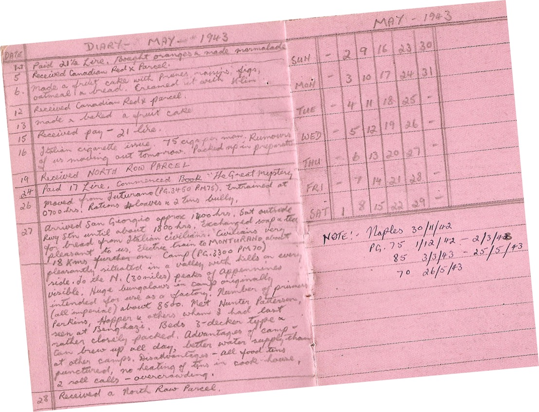 Robert Otterson war diary extract
