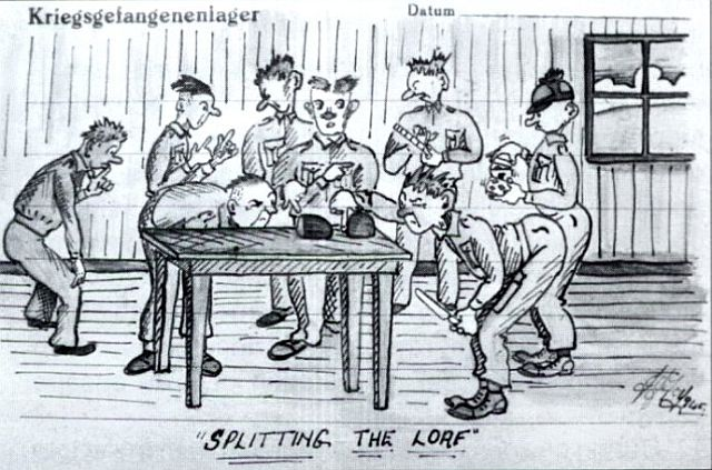 Cartoon depicting POWs and shortage of food, WW2