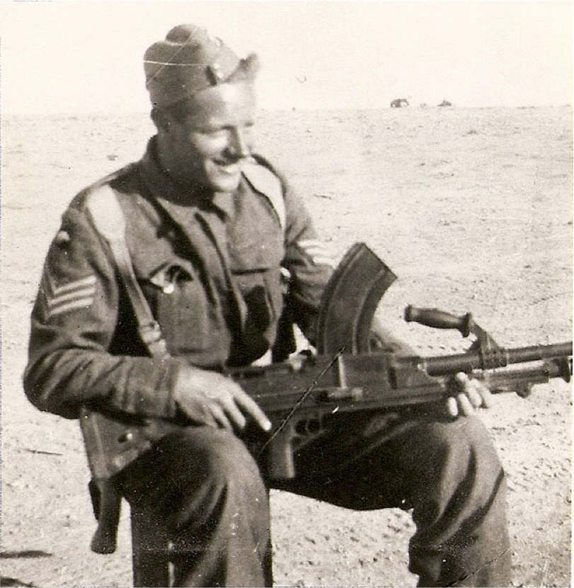 Robert Otterson with Bren gun, a popular weapon with British troops.