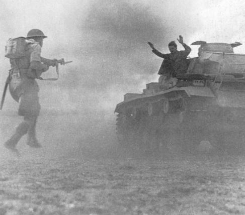 British soldier accepts German tank surrender at El Alamain, 1942