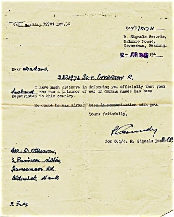 Repatriation letter