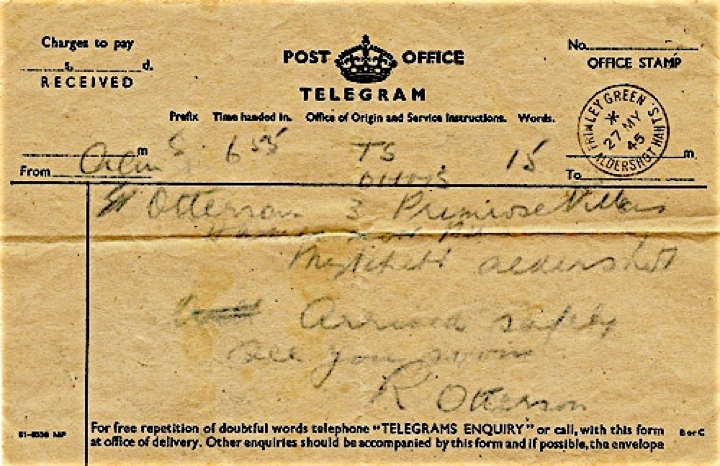 Telegram home from POW