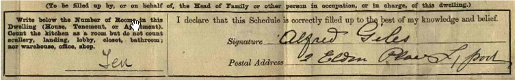 1911 Census. Copyright: National Archives