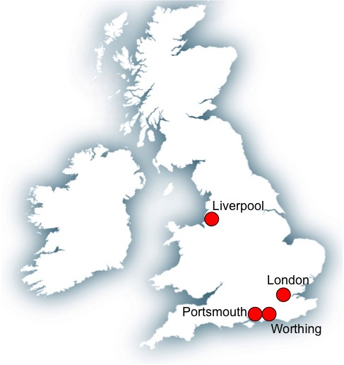 Map England Liverpool-Portsmouth-Worthing