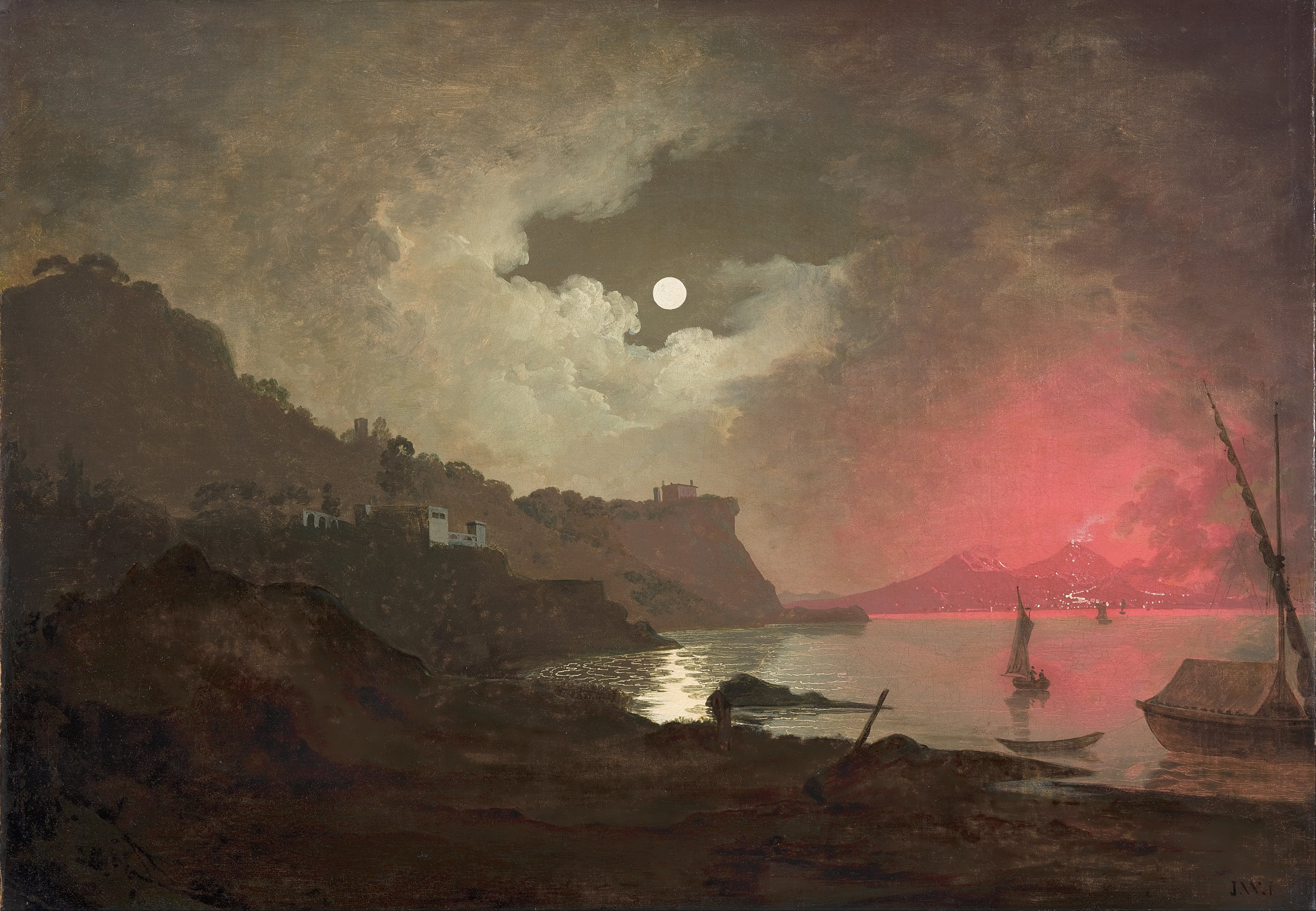 Painting of Naples and Vesuvious at night