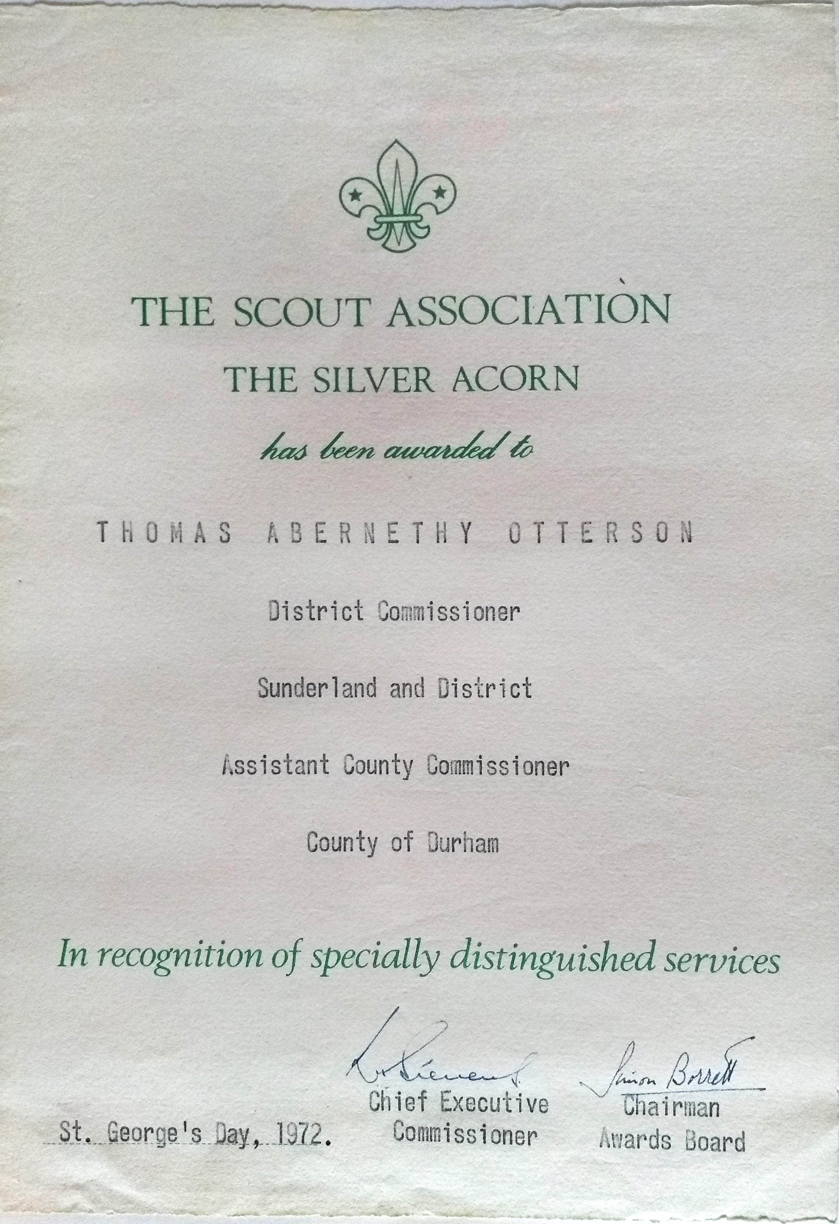 Silver acord award certificate