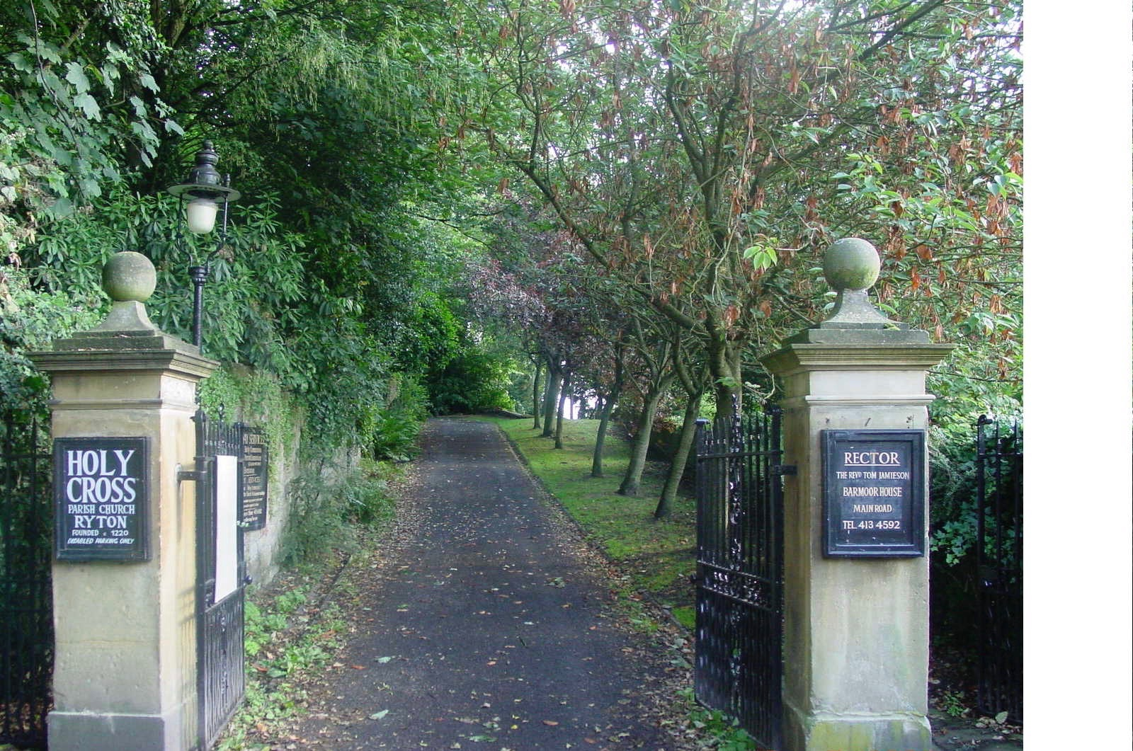 Entrance Holy Cross church, Ryton