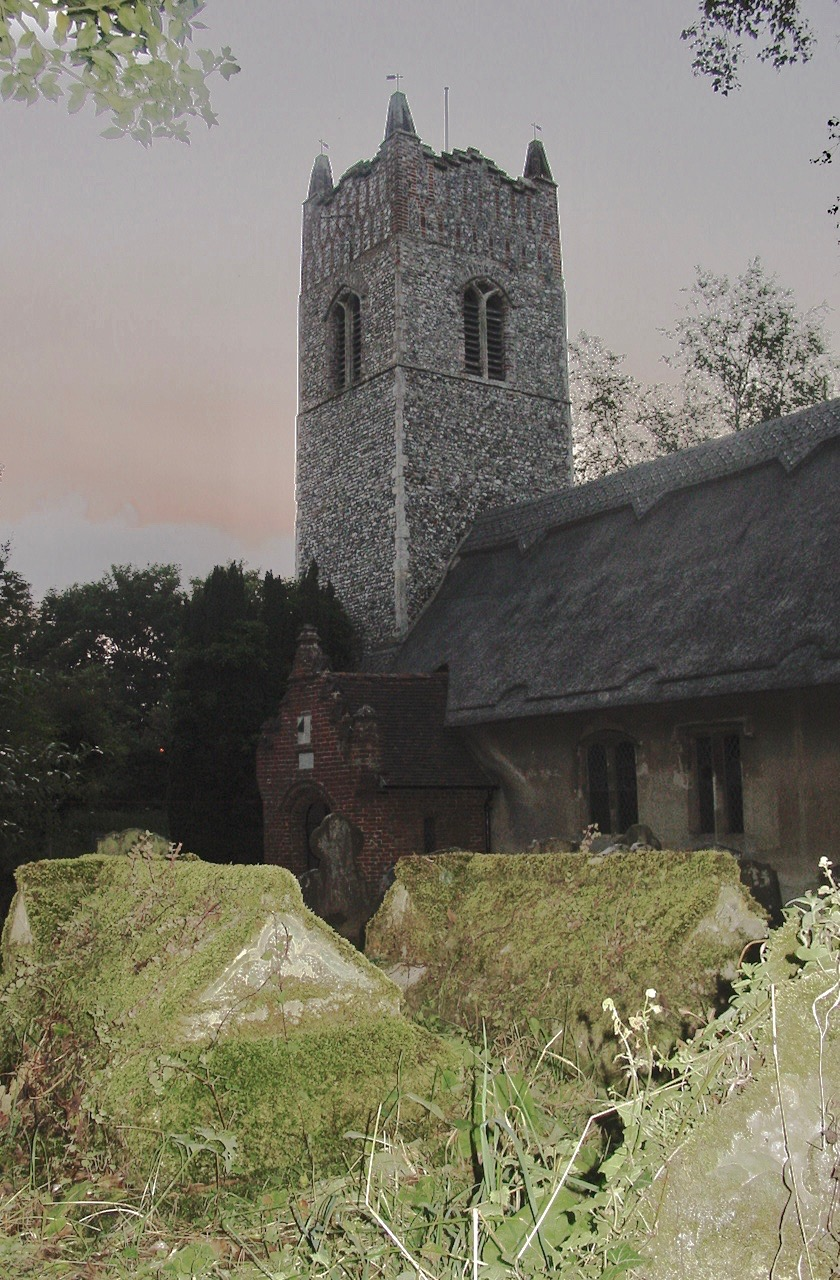 Picture showing moss-covered tombs at Ringsfield parish church, Suffolk