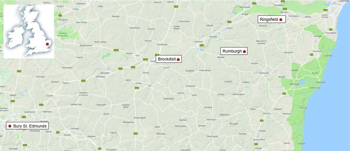 Shows distances between Suffolk villages of interest