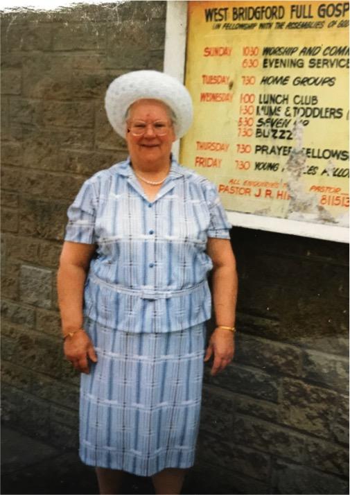 Doris Otterson outside church.