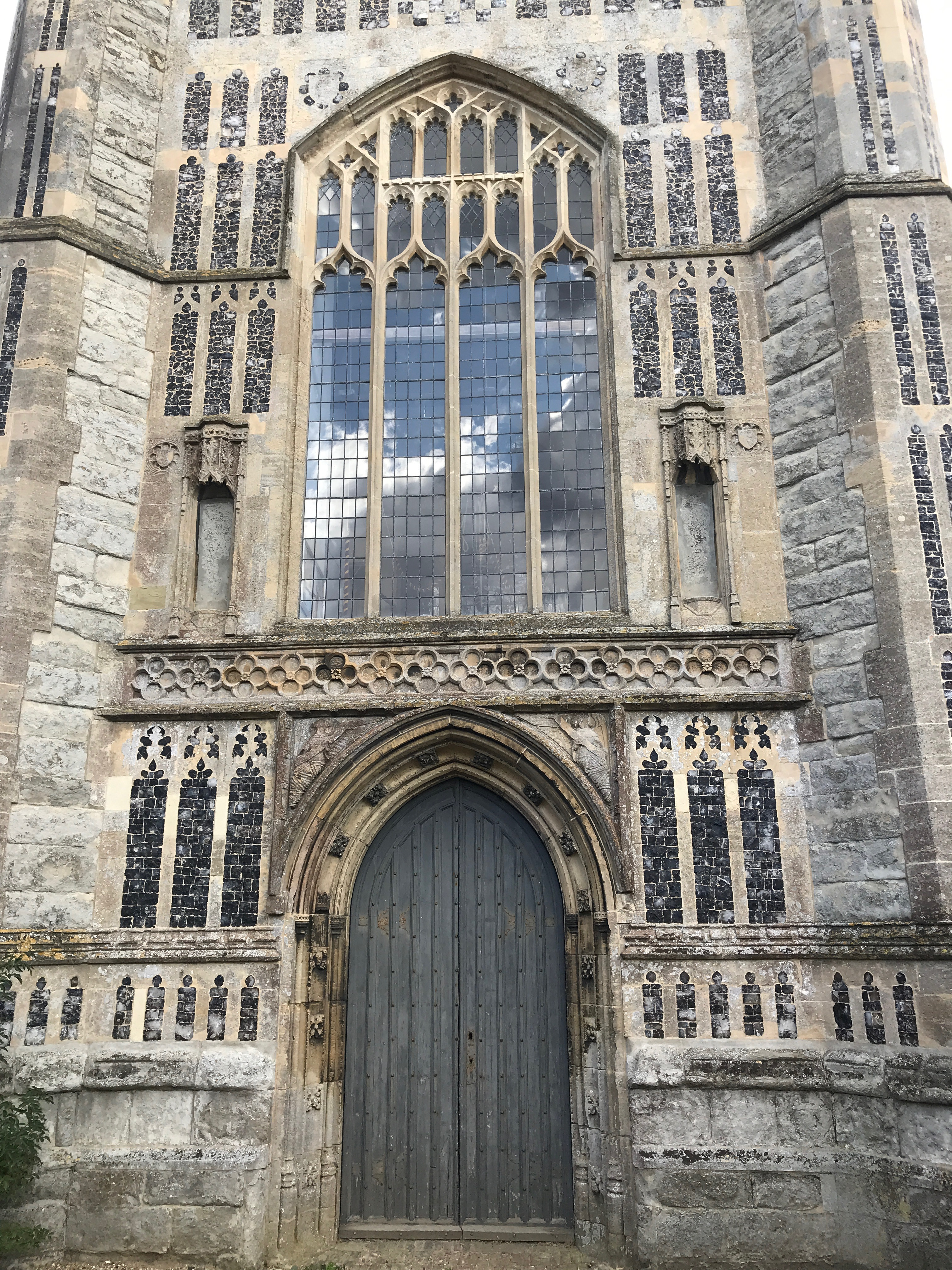 Empty recesses where angels have been removed by Puritan activists, 1600s. Laxfield, Suffolk, England.