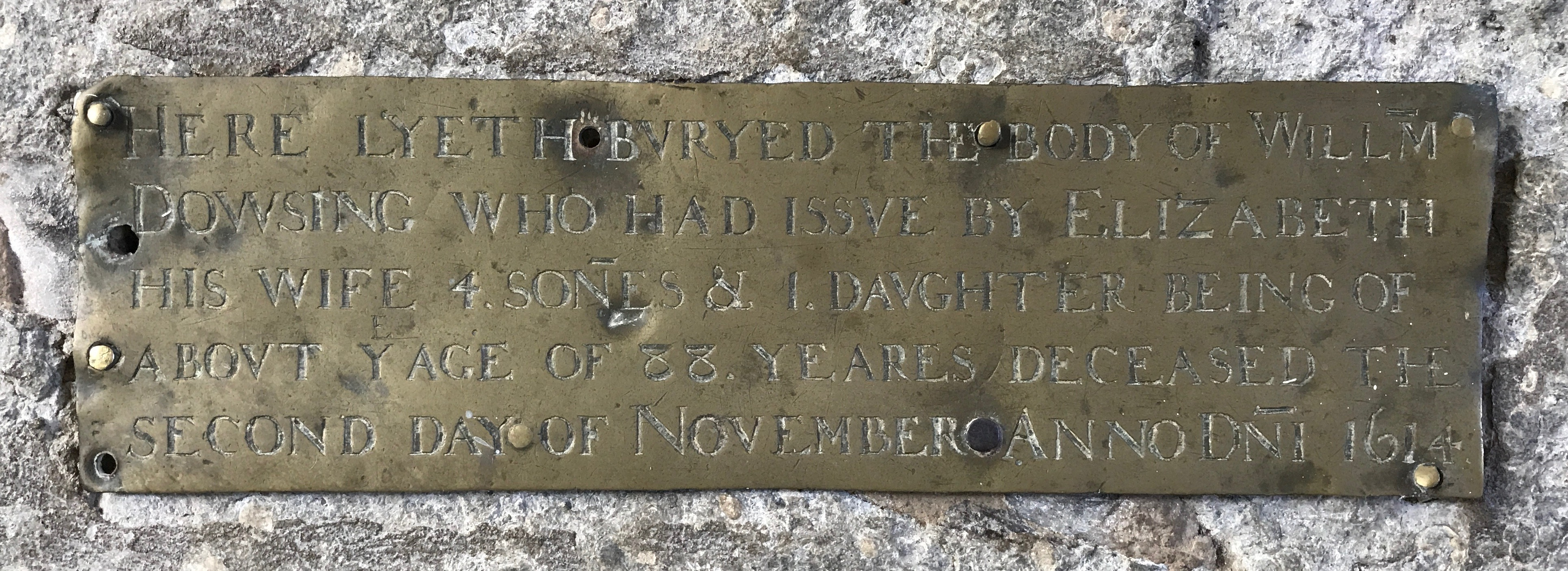 Brass plate affixed to William Dowsing tomb, 1526-1614, Laxfield church.