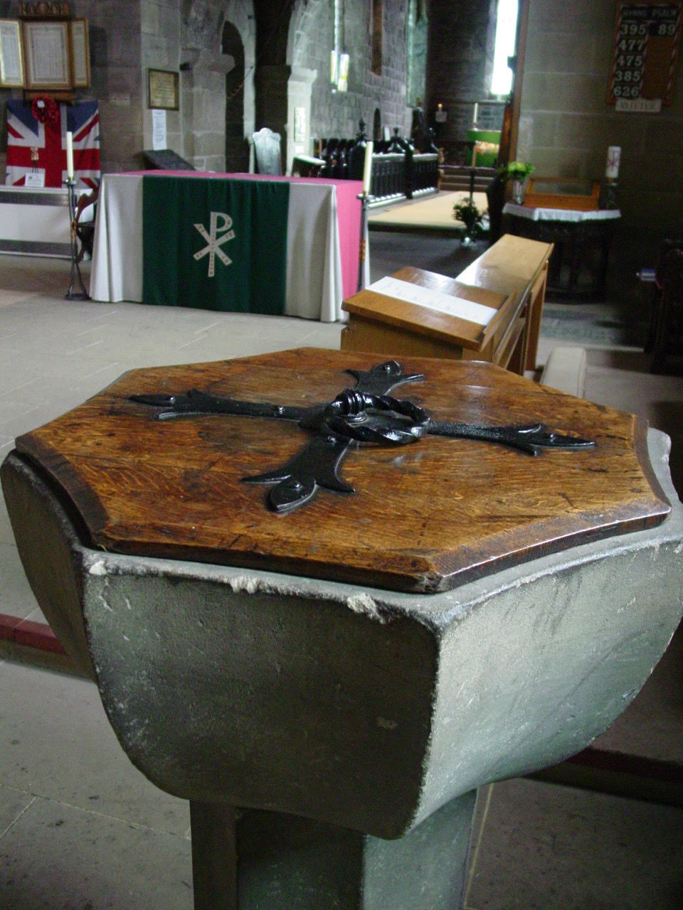 Baptismal font at St Paul's, Jarrow