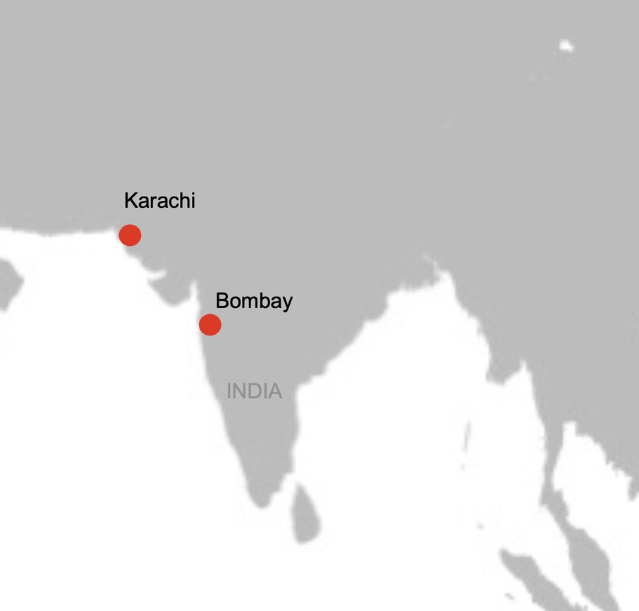 Map of India showing Karachi and Bombay locations