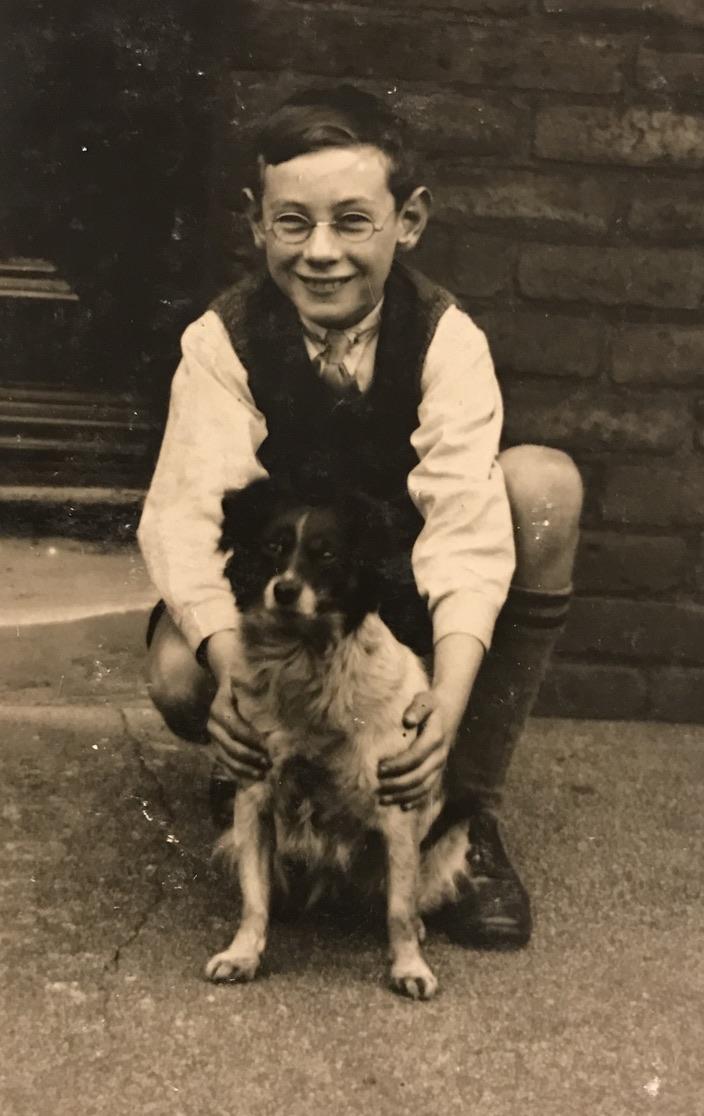 Jim Otterson as a boy with dog, Peg