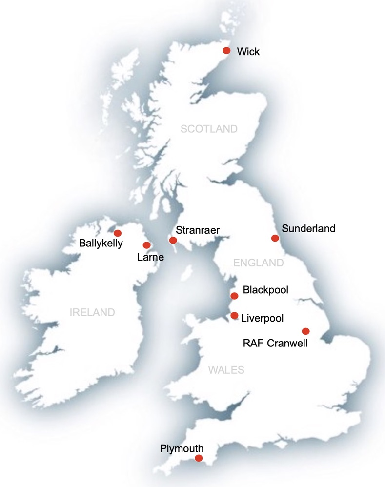 Map of British Isles showing where Jim Otterson traveled