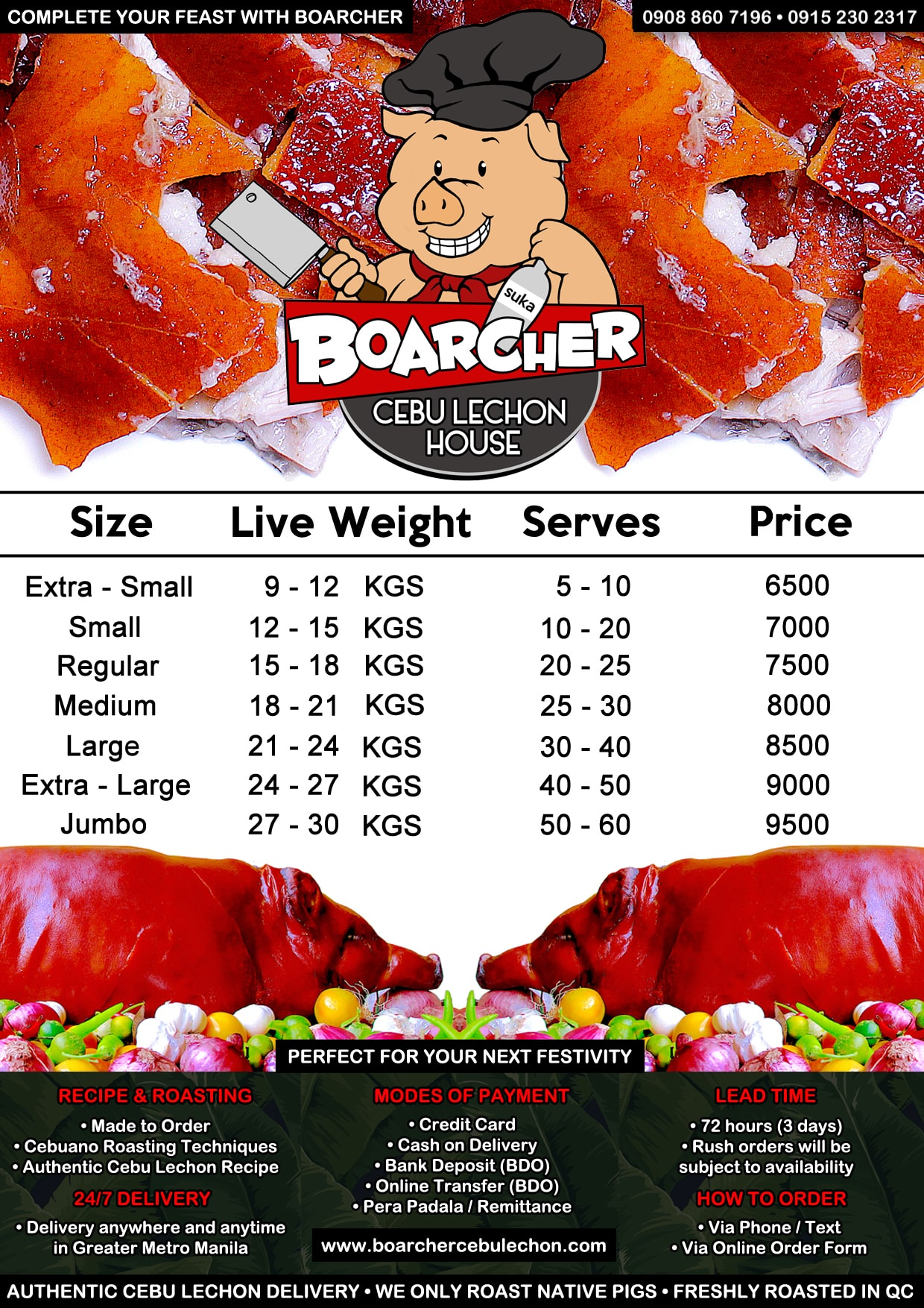 Cebu Lechon Price List