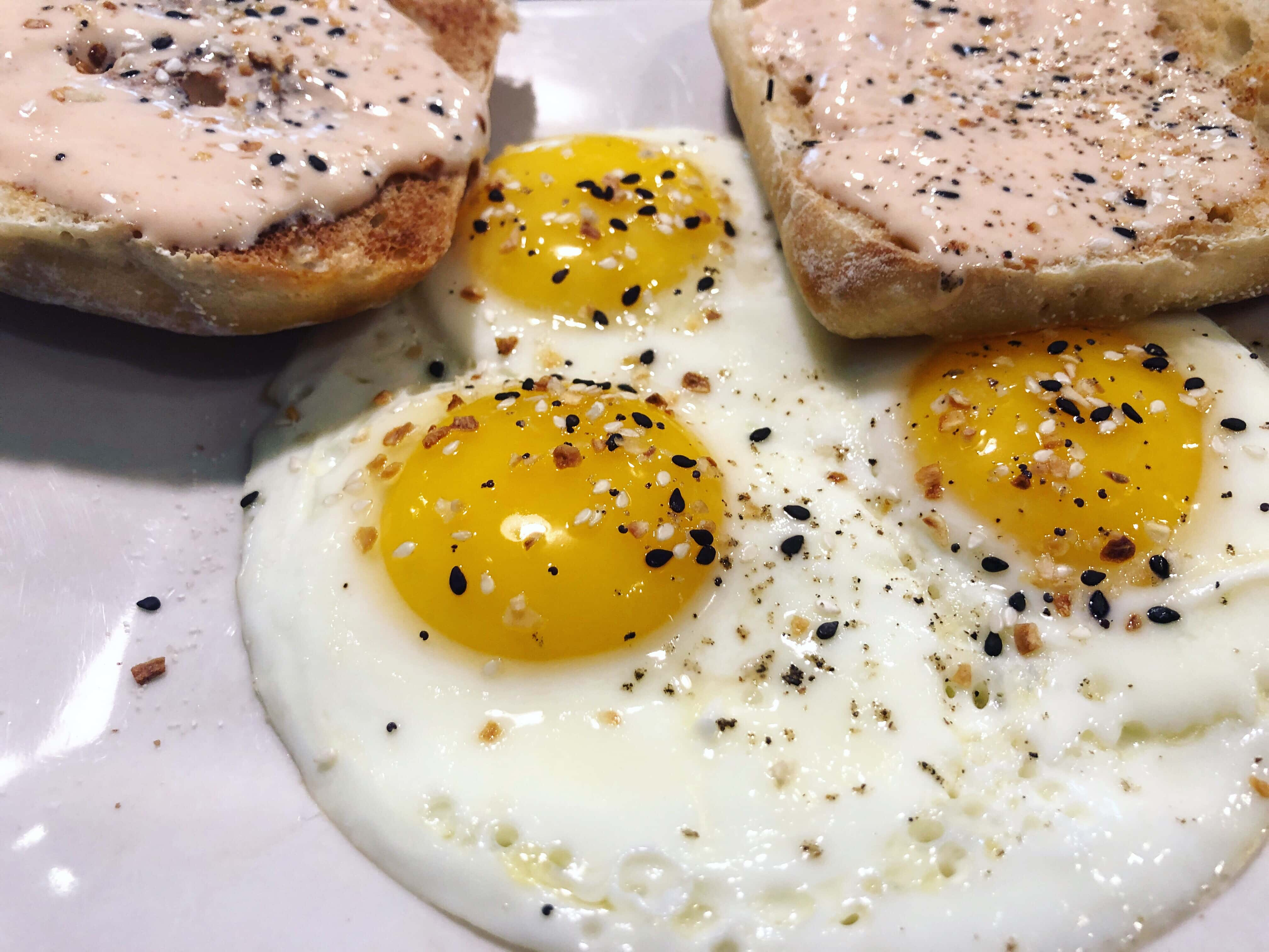Three perfectly fried eggs