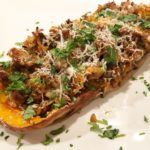 Bratwurst and Wild Rice Stuffed Butternut Squash