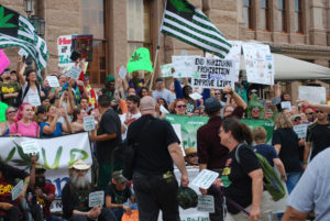Protesters in from of the Texas state capital