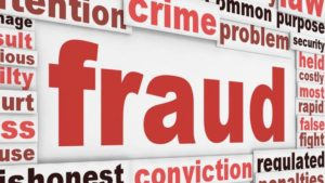 Picture of the word fraud, in a red font