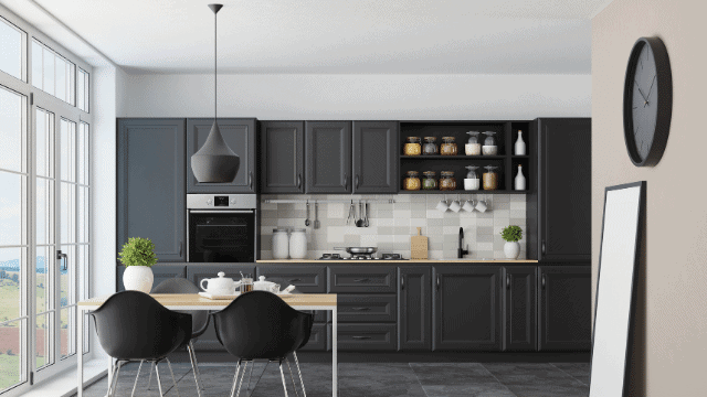 2021 home trends include Matte Black Cabinets