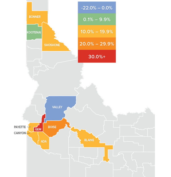 Matthew Gardner Map Idaho Change in Home Prices Windermere Report
