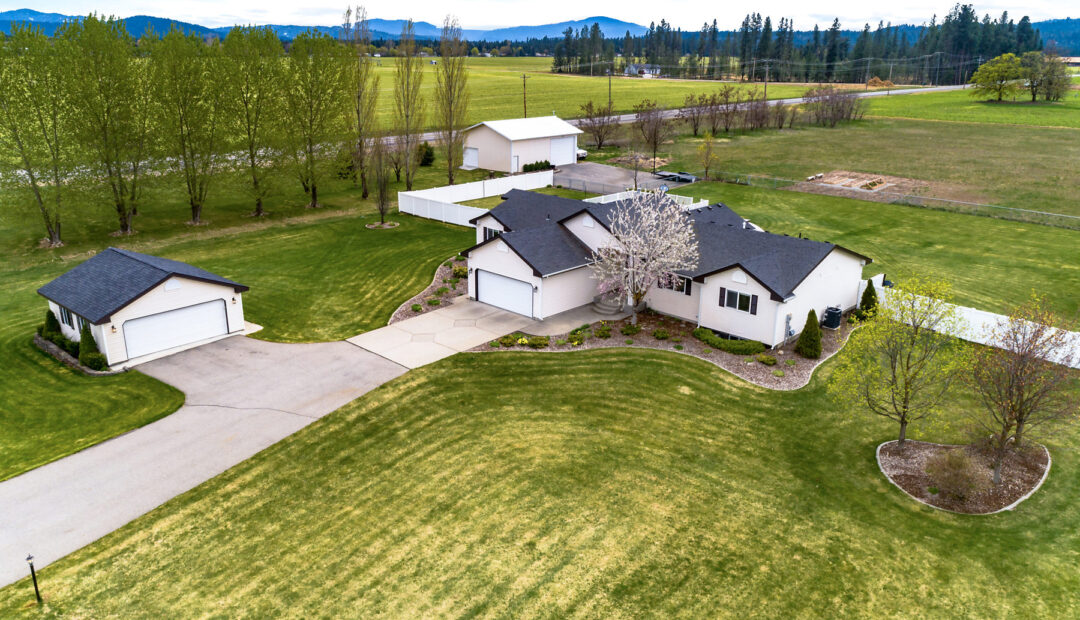 7132 E Greta Ave Aerial View with shop Post Falls Real Estate Home For sale