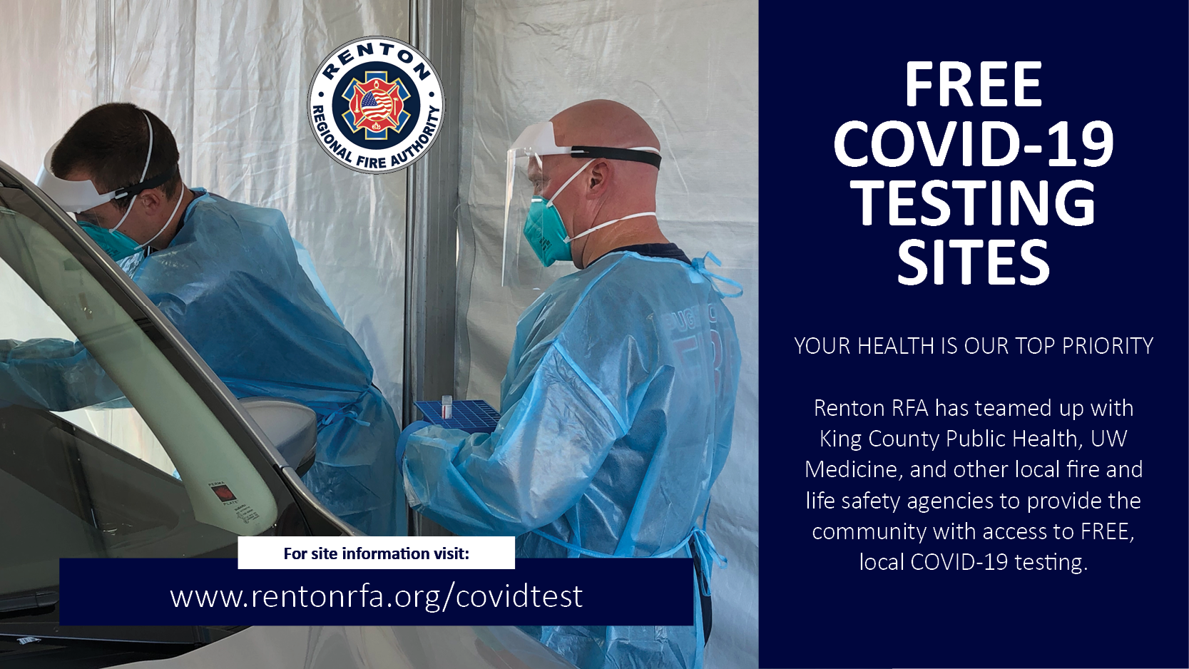 Renton RFA Helps with Free COVID Testing Sites