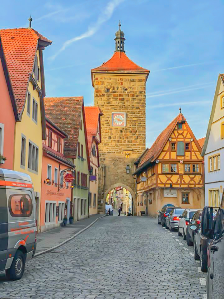 old brick roadway in Rothenburg ob der Tauber, Germany