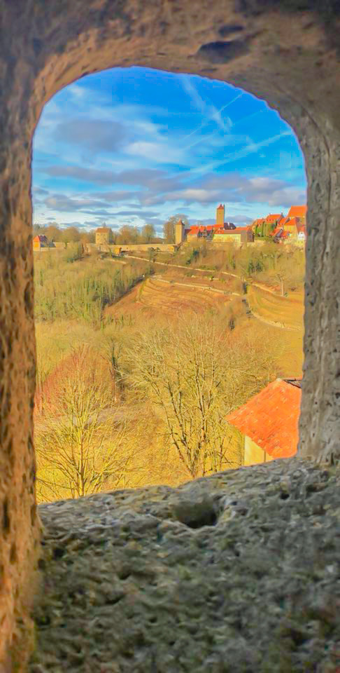 looking out of the City wall in Rothenburg ob der Tauber, Germany
