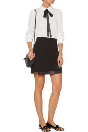Alice & Olivia asymmetric leather mini skirt