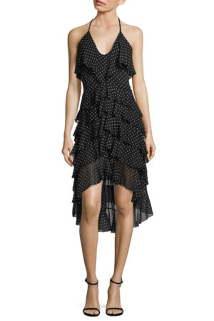 Alice & Olivia black lorilee ruffle high-low Dress