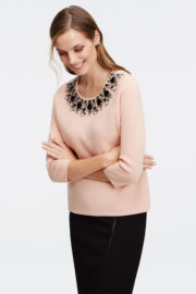 Embellished Sweater pink color by Ann Taylor