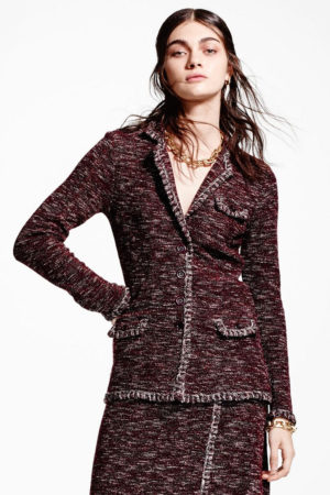 Brooks Brothers suit blanket-stitch tweed jacket & skirt