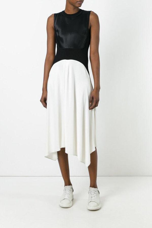 DKNY Black and white two-tone sleeveless dress