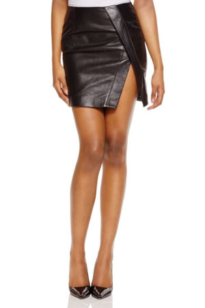 Black Crossover Leather Mini Skirt by N Nicholas